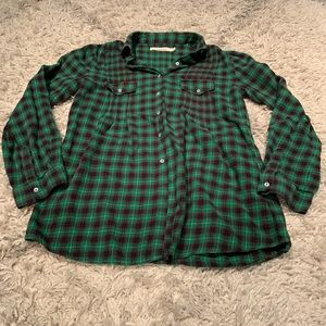 Sundance green and red plaid button down shirt